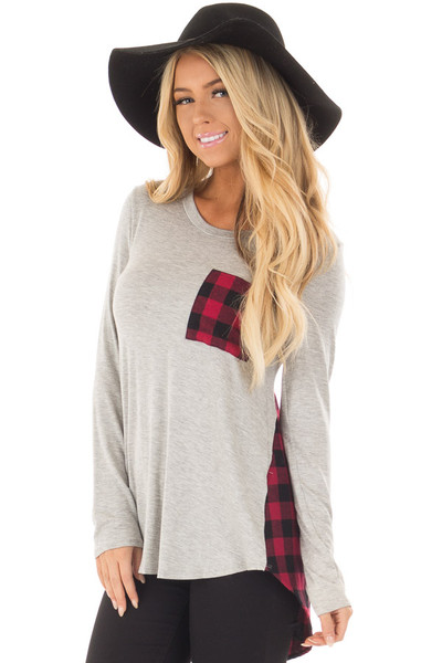 Heather Grey and Red Plaid Long Sleeve Top front closeup