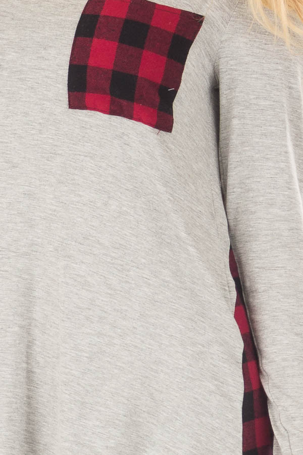 Heather Grey and Red Plaid Long Sleeve Top front detail