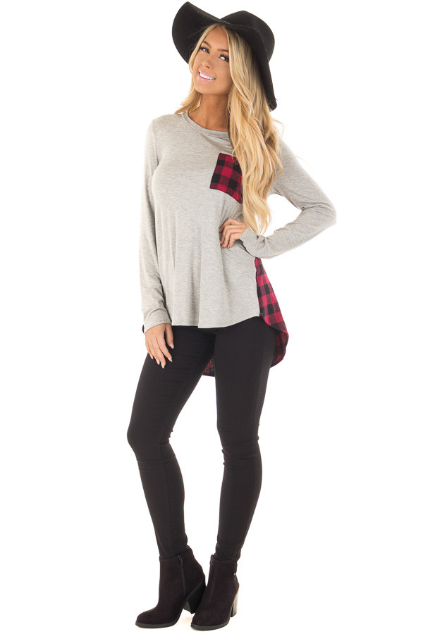 Heather Grey and Red Plaid Long Sleeve Top front full body