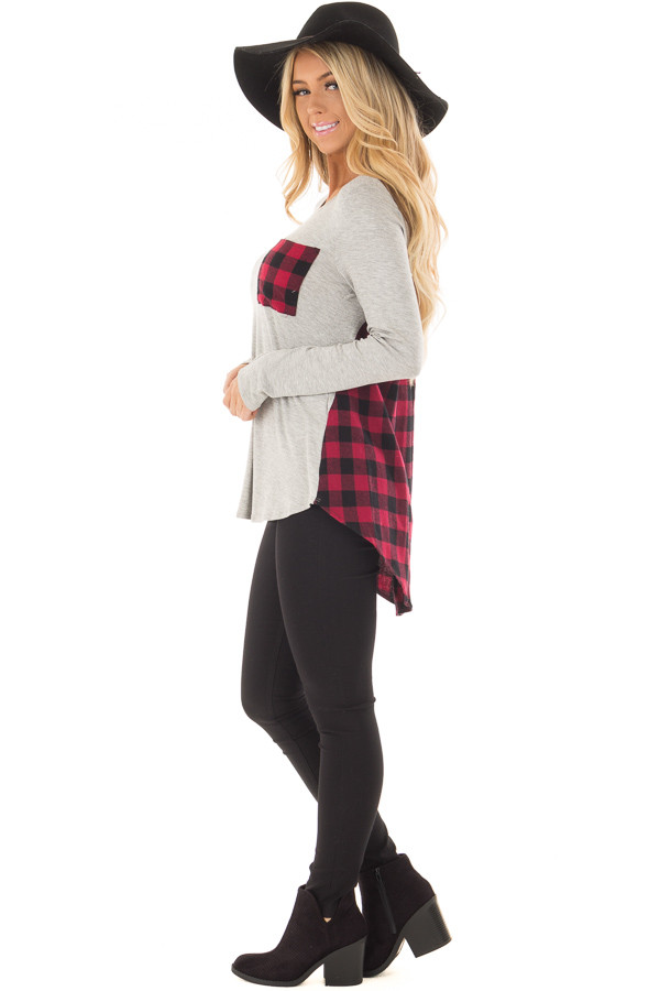 Heather Grey and Red Plaid Long Sleeve Top side full body