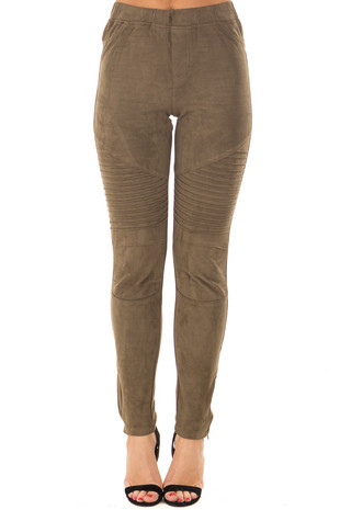 Olive Faux Suede High Waist Moto Leggings with Ankle Zippers front