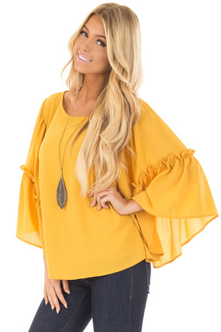 Mustard Wide 3/4 Sleeve Top with Ruffle Details front close up
