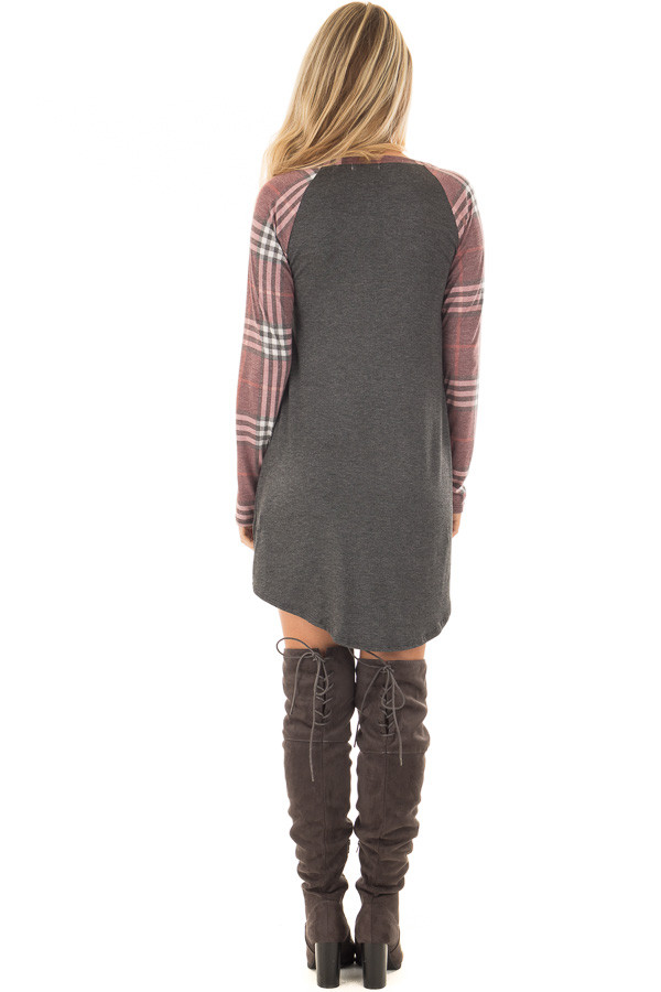 Charcoal Soft Dress with Plaid Raglan Long Sleeves back full body