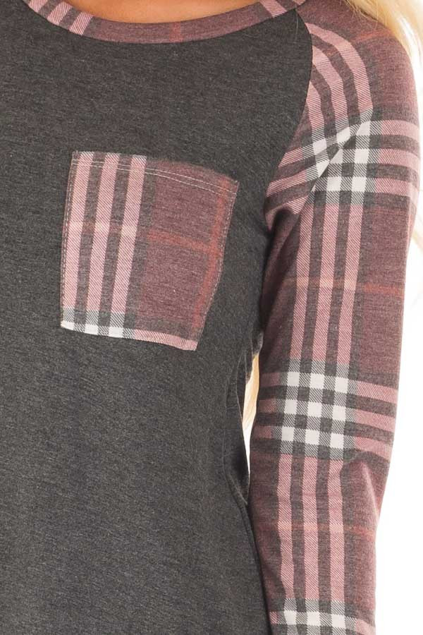 Charcoal Soft Dress with Plaid Raglan Long Sleeves front detail