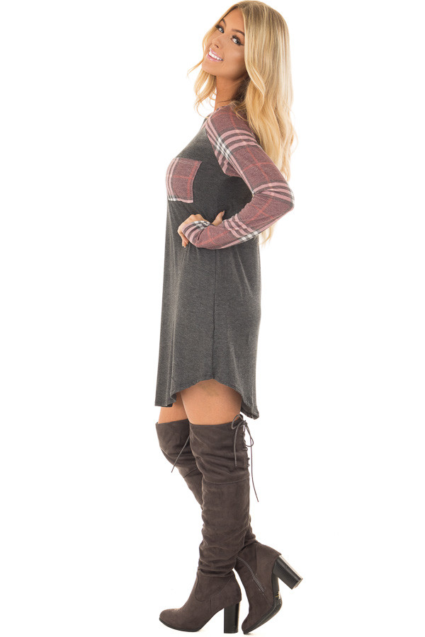 Charcoal Soft Dress with Plaid Raglan Long Sleeves side full body