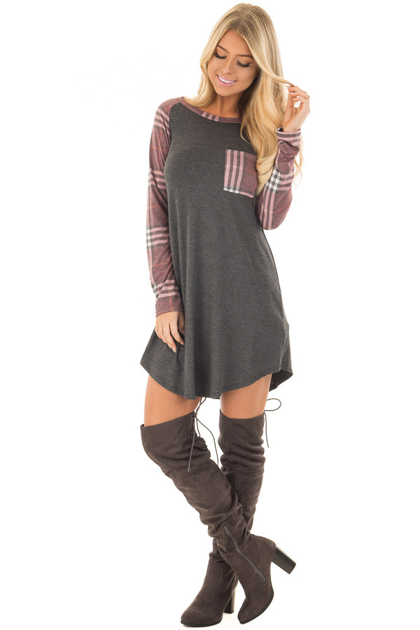 Charcoal Soft Dress with Plaid Raglan Long Sleeves front full body