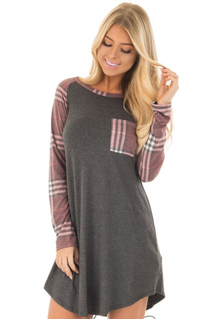 Charcoal Soft Dress with Plaid Raglan Long Sleeves front closeup