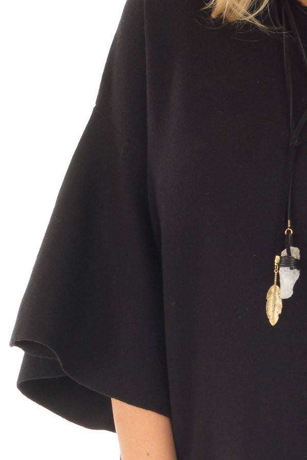 Black 3/4 Bell Sleeve High Neck Sweater front detail