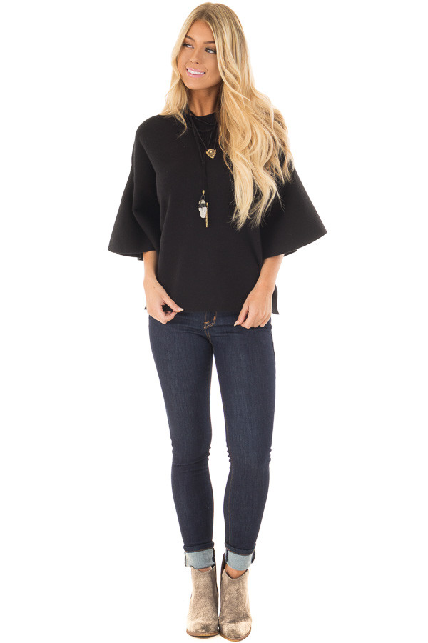 Black 3/4 Bell Sleeve High Neck Sweater front full body