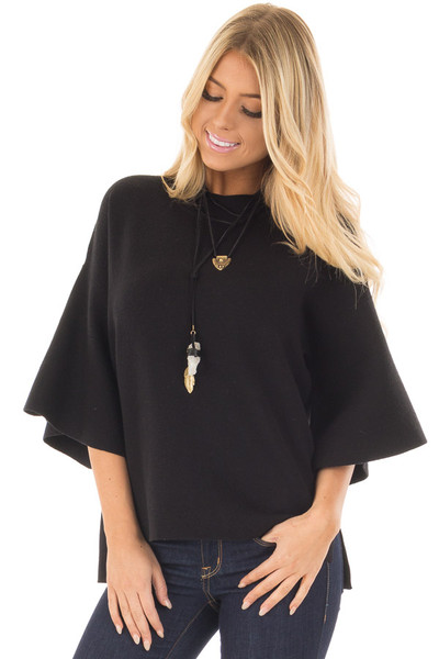 Black 3/4 Bell Sleeve High Neck Sweater front closeup