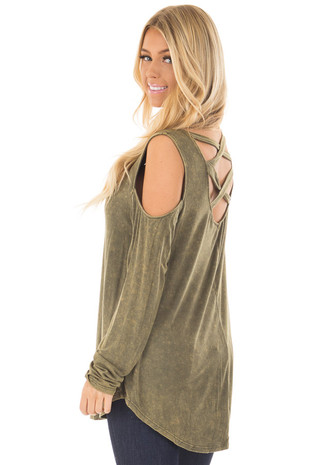 Moss Mineral Wash Cold Shoulder Top with Criss Cross Back over the shoulder closeup