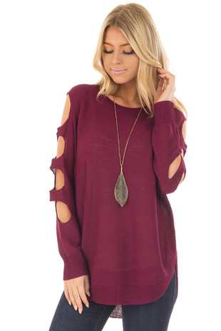Wine Long Sleeve Ladder Cut Knit Sweater front closeup