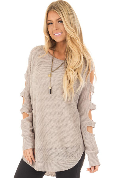 Heather Grey Long Sleeve Ladder Cut Knit Sweater front closeup
