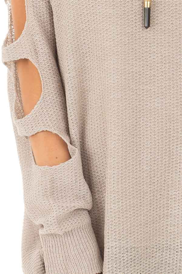 Heather Grey Long Sleeve Ladder Cut Knit Sweater front detail