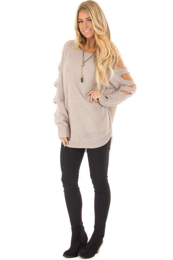 Heather Grey Long Sleeve Ladder Cut Knit Sweater front full body