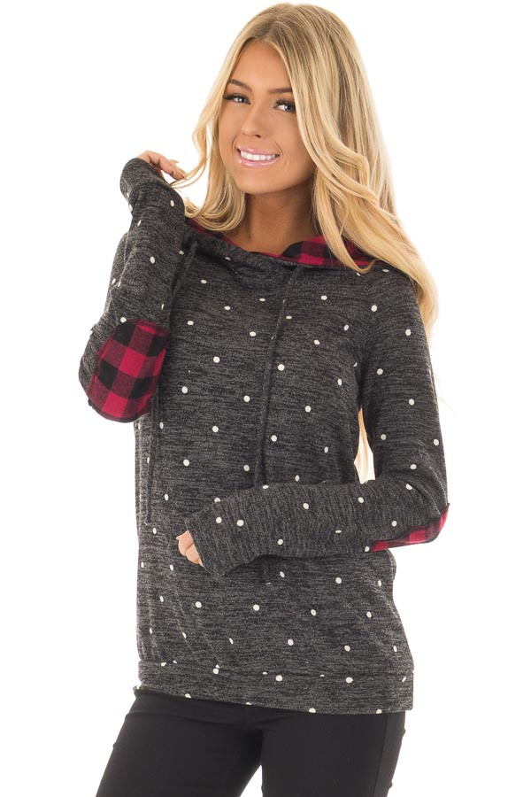 Charcoal Polka Dot and Red Plaid Long Sleeve Hooded Sweater - Lime ...