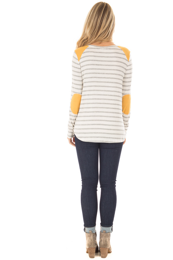 Ivory and Light Grey Striped Top with Mustard Elbow Patches back full body