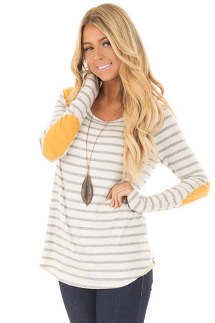Ivory and Light Grey Striped Top with Mustard Elbow Patches front close up
