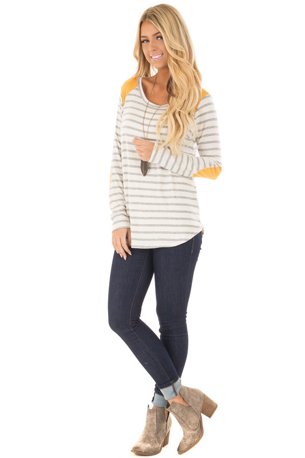 Ivory and Light Grey Striped Top with Mustard Elbow Patches front full body