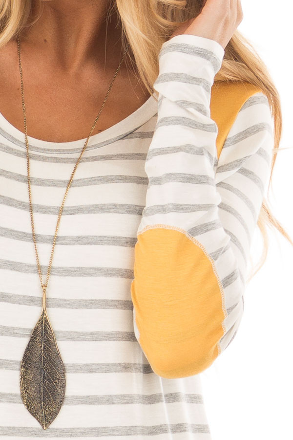 Ivory and Light Grey Striped Top with Mustard Elbow Patches detail