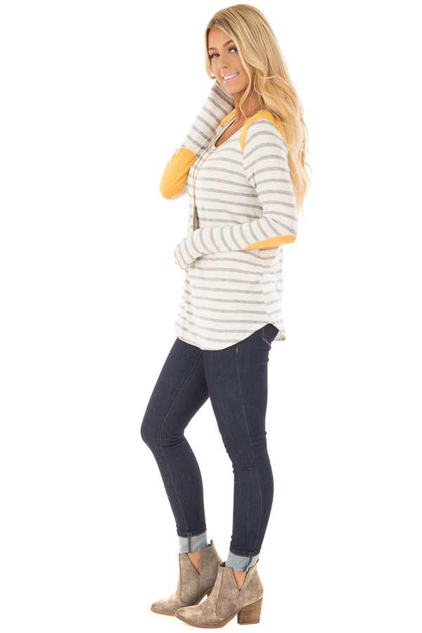 Ivory and Light Grey Striped Top with Mustard Elbow Patches side full body