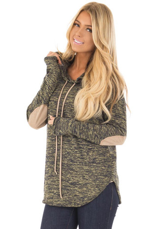 Olive Two Tone Hooded Top with Suede Elbow Patches front close up