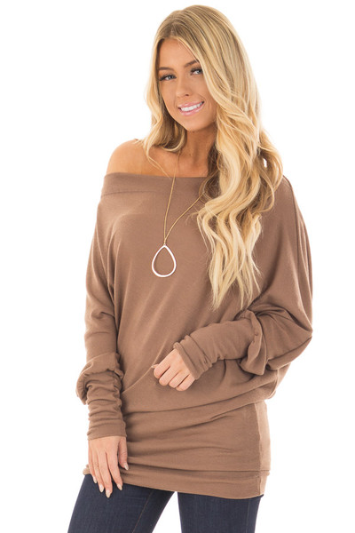 Cocoa Off Shoulder Dolman Knit Top front close up