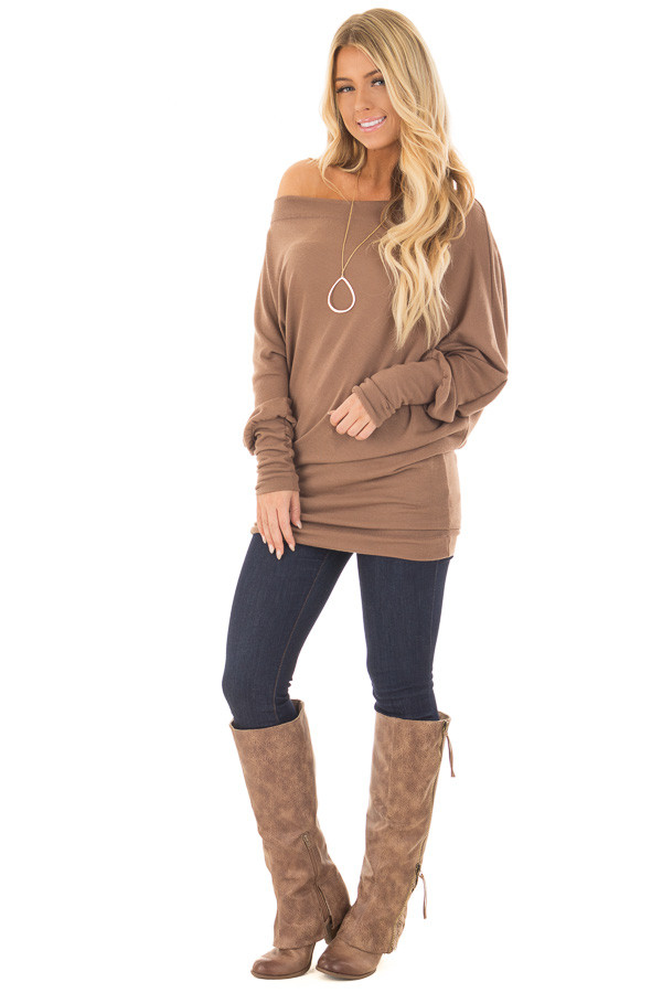 Cocoa Off Shoulder Dolman Knit Top front full body