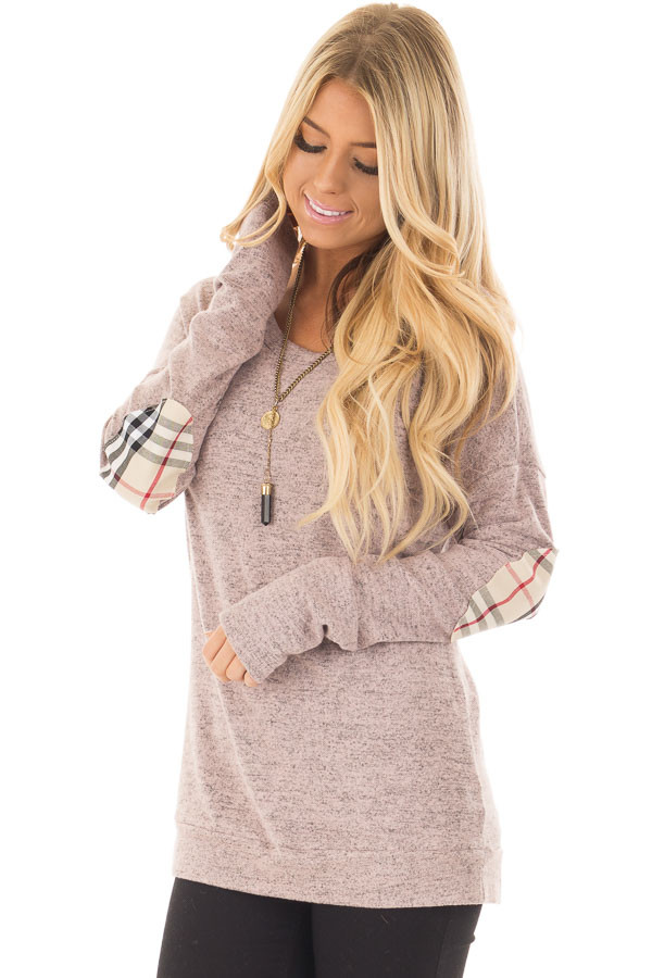 Blush Soft Two Tone Long Sleeve Top with Plaid Elbow Patches front closeup