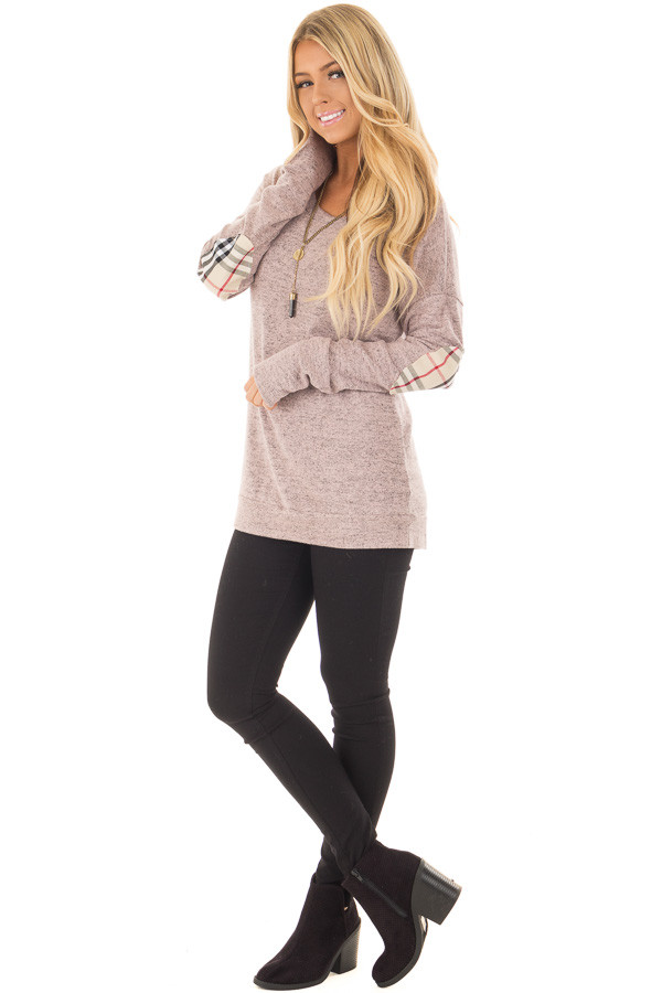 Blush Soft Two Tone Long Sleeve Top with Plaid Elbow Patches front full body