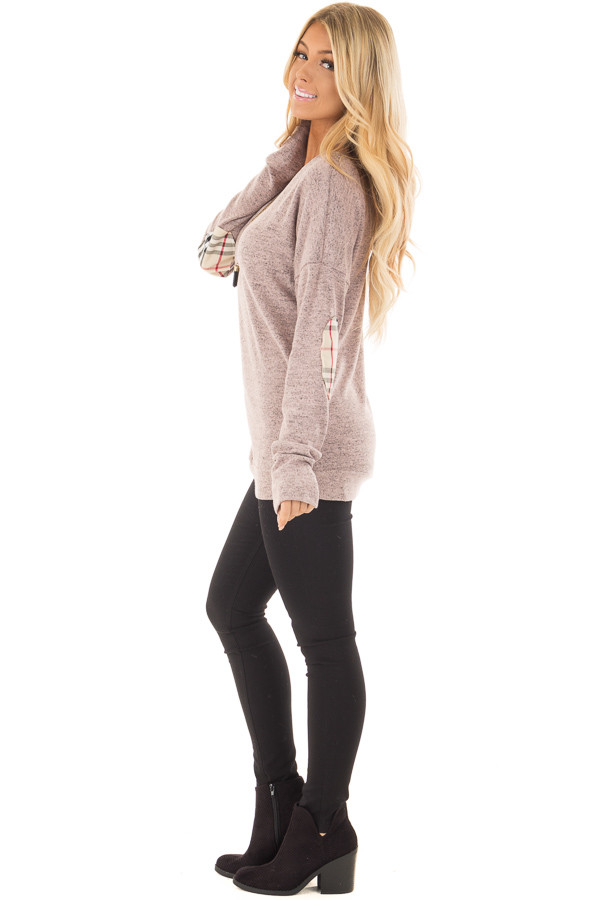Blush Soft Two Tone Long Sleeve Top with Plaid Elbow Patches side full body