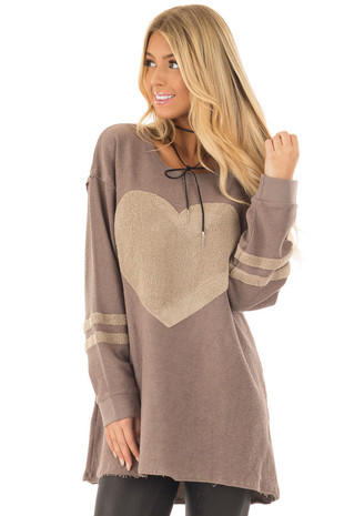 Mocha Long Sleeve Top with Textured Heart Detail front close up