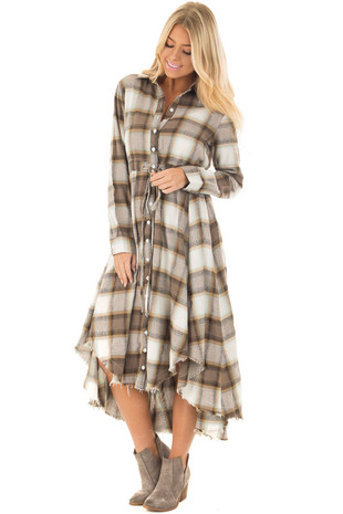Mocha Plaid Long Sleeve Button Up Dress with Waist Tie front full body