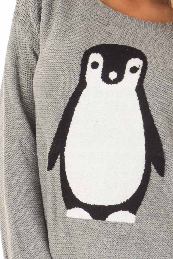 Heather Grey Long Sleeve Textured Penguin Sweater front detail