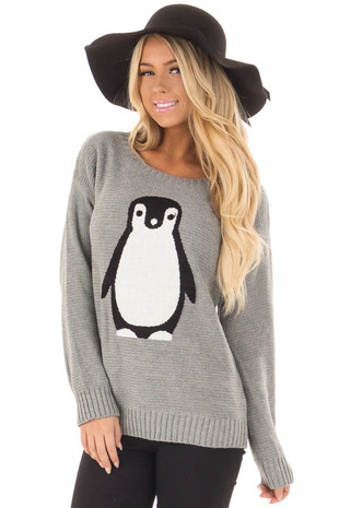 Heather Grey Long Sleeve Textured Penguin Sweater front closeup