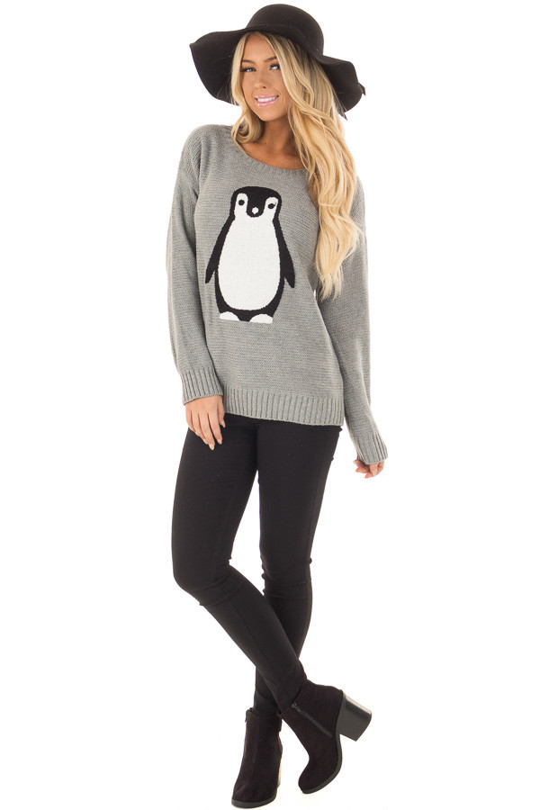 Heather Grey Long Sleeve Textured Penguin Sweater front full body