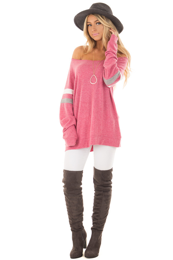Berry Super Soft Peek A Boo Shoulder Color Block Sleeve Top front full body