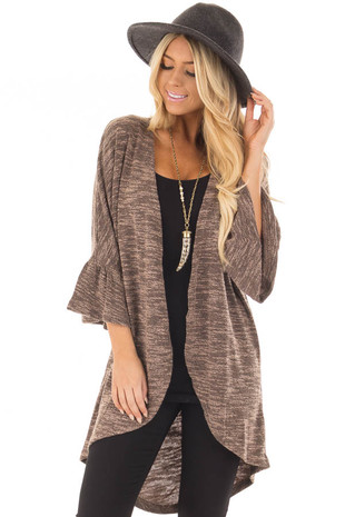 Mocha Two Tone Cardigan with 3/4 Bell Sleeves front closeup