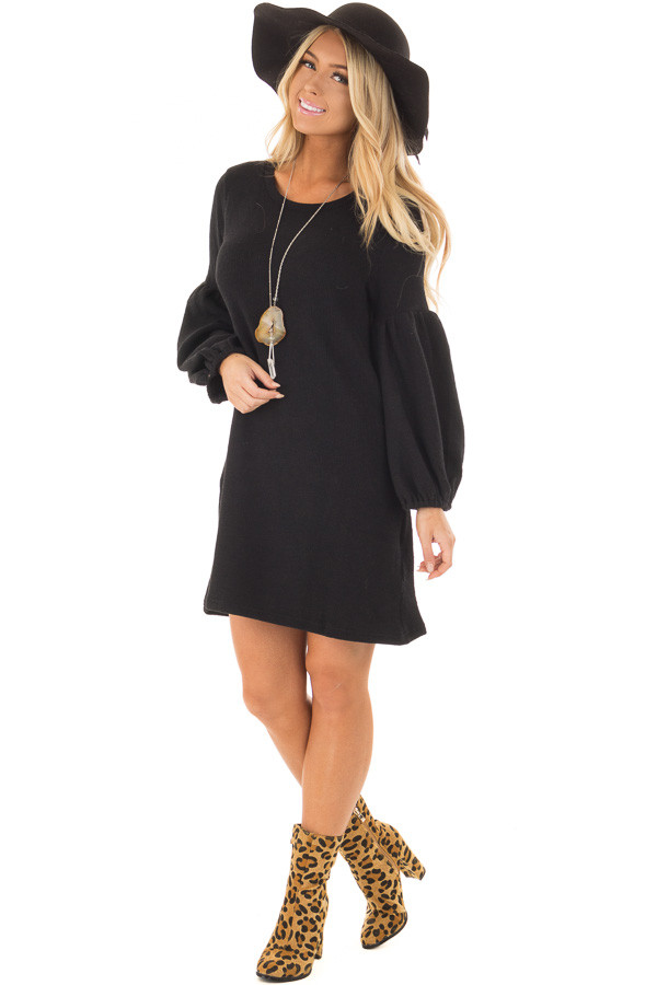 Black Balloon Sleeve Ribbed Knit Dress front full body