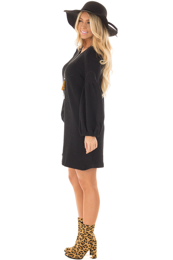 Black Balloon Sleeve Ribbed Knit Dress side full body