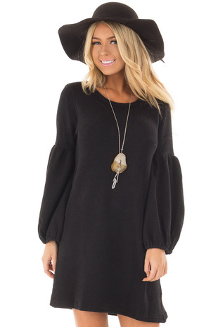 Black Balloon Sleeve Ribbed Knit Dress front closeup