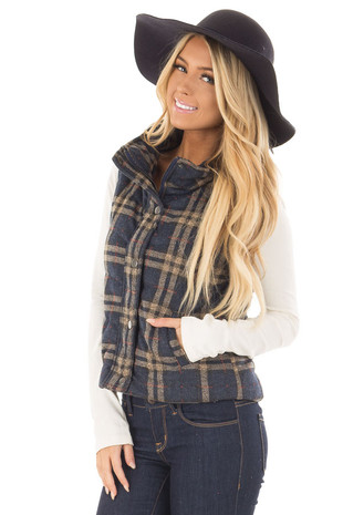 Navy and Taupe Plaid Padded Vest front closeup