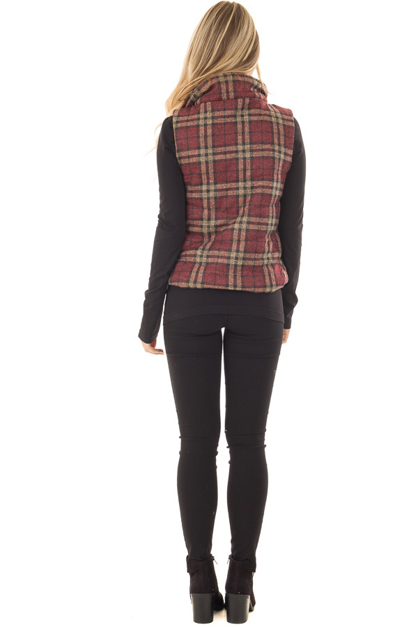 Burgundy and Taupe Plaid Padded Vest back full body