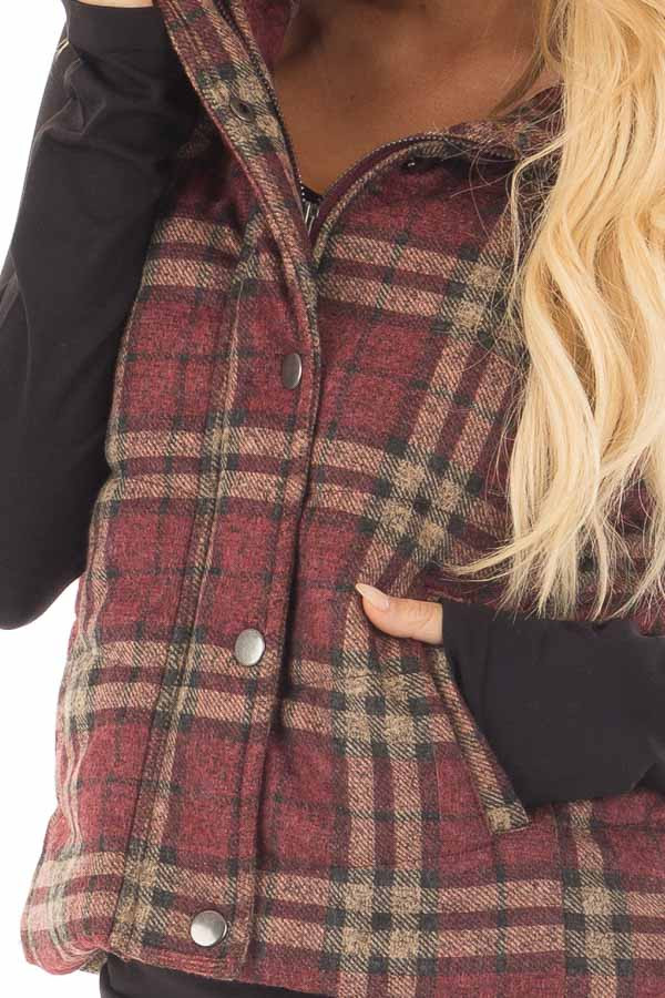 Burgundy and Taupe Plaid Padded Vest front detail