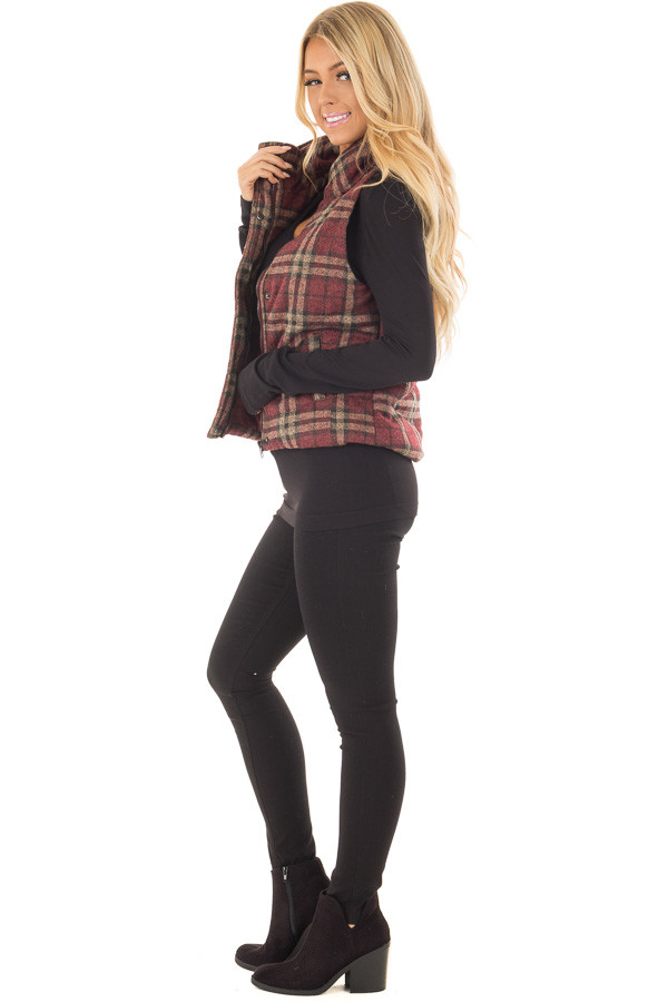 Burgundy and Taupe Plaid Padded Vest side full body