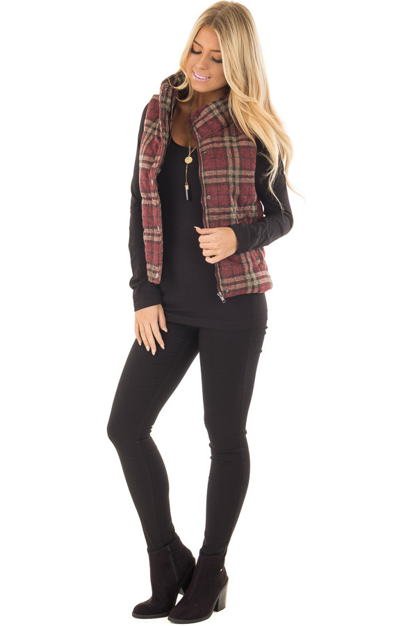 Burgundy and Taupe Plaid Padded Vest front full body