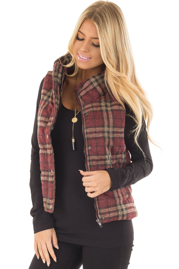 Burgundy and Taupe Plaid Padded Vest front closeup