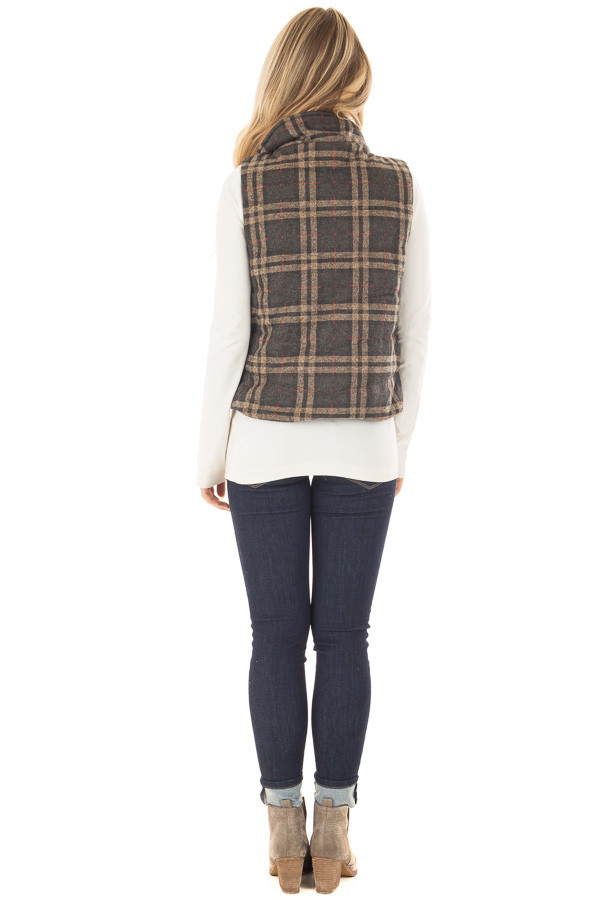 Charcoal and Taupe Plaid Padded Vest back full body