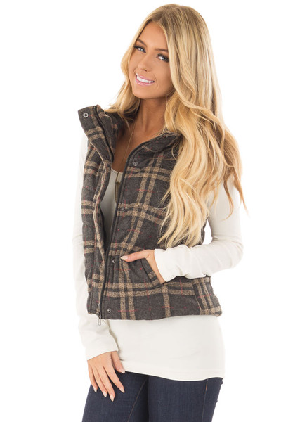 Charcoal and Taupe Plaid Padded Vest front closeup