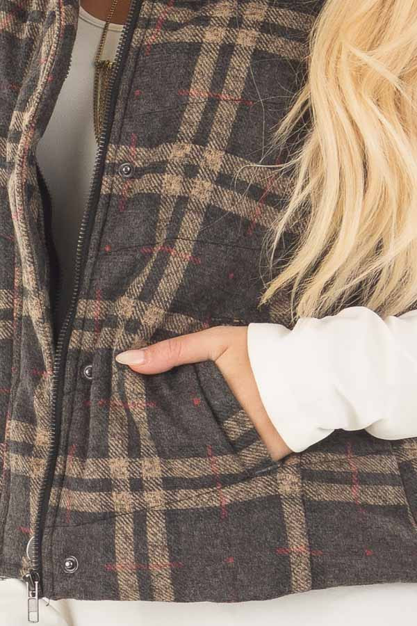 Charcoal and Taupe Plaid Padded Vest front detail